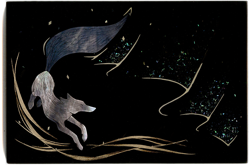 togidashi raden maki-e urushi revontulet silver mother-of-pearl
