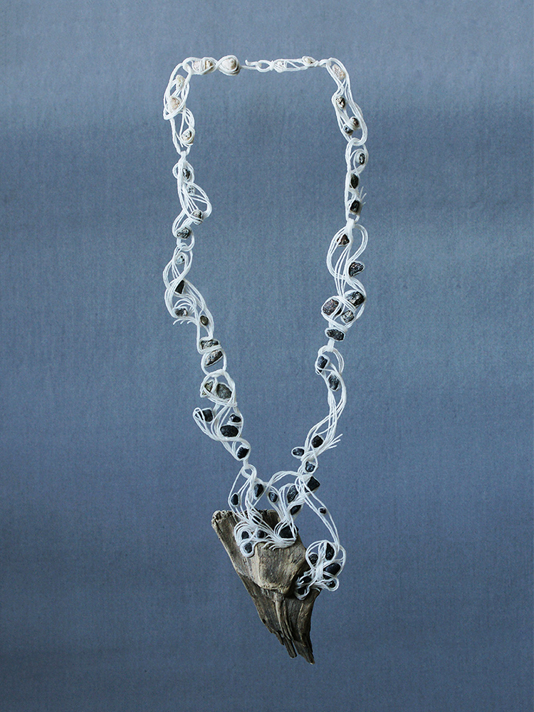 Wiebke Pandikow / River / necklace, 2015 / recycled plastic bags, driftwood, gravel
