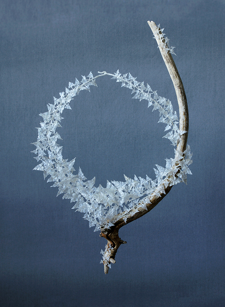 Wiebke Pandikow / necklace from the Fallopia series / 2015 / recycled plastic bags, wood