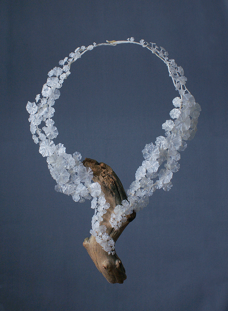 Wiebke Pandikow / necklace from the Tropaeolum series / 2016 / recycled plastic bags, wood