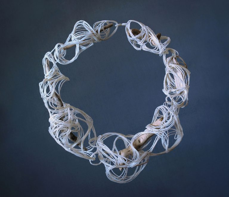 Wiebke Pandikow / The Sea / necklace, 2016 / recycled plastic bags, driftwood