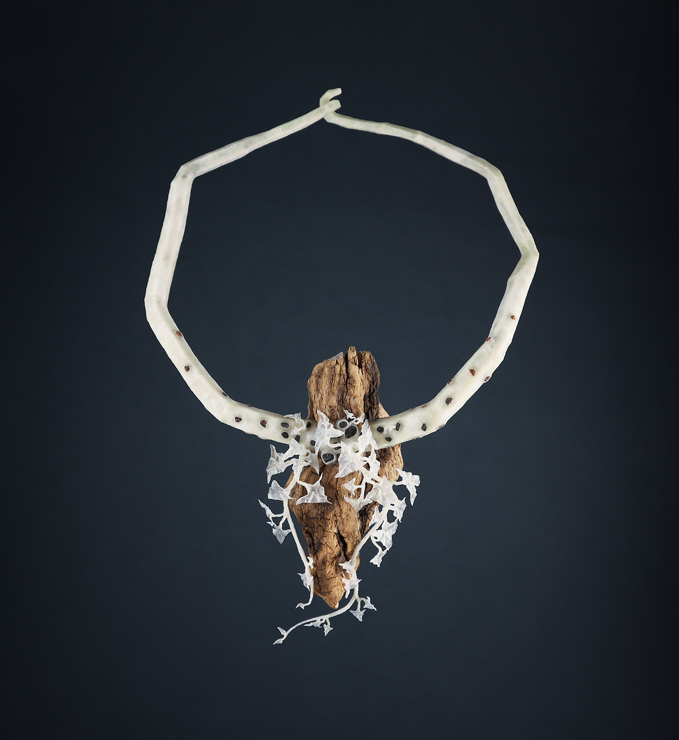 Wiebke Pandikow / Points of Connection Cascade / necklace / recycled plastic bags, burned wood